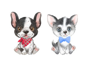 Puppies Watercolor Clipart. Small Dogs Graphic Add-ons By EvArtPrint 3