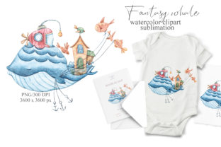 Print on Demand: Watercolor Cute Whale Clipart - Png File Graphic Print Templates By Tiana Geo