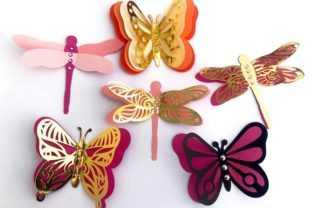 3D Layered Dragonflies and Butterflies 3D SVG Craft Cut File By Creative Fabrica Crafts