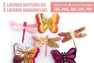 3D Layered Dragonflies and Butterflies 3D SVG Craft Cut File By Creative Fabrica Crafts 2