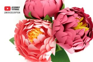 3D Paper Peony Flowers 3D SVG Craft Cut File By Creative Fabrica Crafts