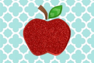 Apple with Leaf Applique Back to School Embroidery Design By DesignedByGeeks