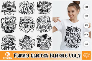 Print on Demand: Funny SVG Bundle, Funny Lettering Quotes Graphic Crafts By dapiyupi