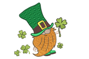 Gnome with Cloverleaf St Patrick's Day Embroidery Design By Canada Crafts Studio