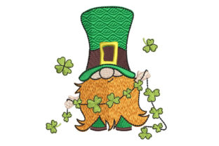 Gnome with Cloverleaf Garland St Patrick's Day Embroidery Design By Canada Crafts Studio