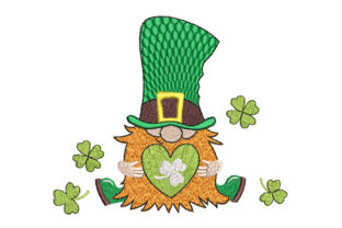 Gnome with Heart St Patrick's Day Embroidery Design By Canada Crafts Studio