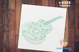 Green Guitar Music Embroidery Design By embroiderydesigns101