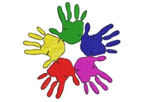 Print on Demand: Hands Rainbow Friendship Day Friends Embroidery Design By ArtEMByNatali