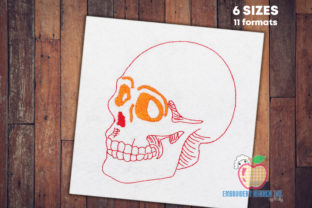 Human Skull Sketch Backgrounds Embroidery Design By embroiderydesigns101