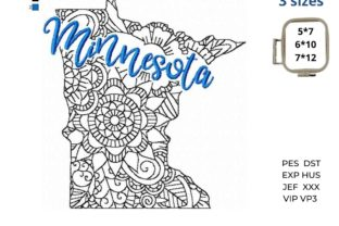 Minnesota State North America Embroidery Design By LaceArtDesigns