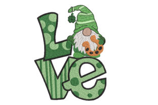 St. Patrick Gnome Love St Patrick's Day Embroidery Design By Canada Crafts Studio