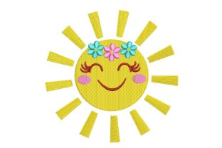Print on Demand: Sun with a Smile and Flowers Summer Embroidery Design By ArtEMByNatali