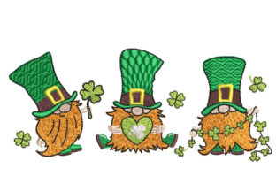 Three Gnomes St Patrick's Day Embroidery Design By Canada Crafts Studio
