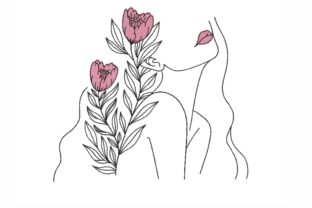 Woman Outline Flowers Embroidery Design By LizaEmbroidery