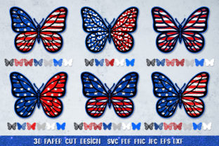 3D Patriotic Butterfly Papercut SVG Graphic 3D SVG By goodfox86