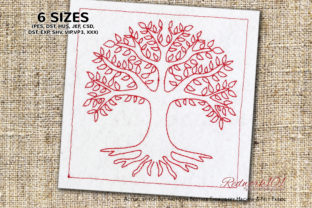 Amazing Tree of Life with Leaves Wald & Bäume Stickdesign von Redwork101