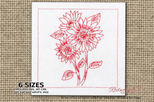 Bouquet of Beautiful Sunflowers Bouquets & Bunches Embroidery Design By Redwork101