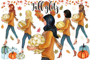 Fall Glitz with Pumpkins Graphic Illustrations By PrintableHenry Outlet 1