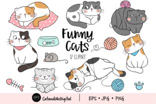 Funny Cat Clipart Graphic Illustrations By CatAndMe