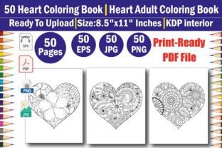 Heart Flowers Coloring Book for Adult Graphic Coloring Pages & Books Adults By mi632883