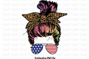 Print on Demand: Messy Bun Leopard Bow 4 of July Sub Graphic Illustrations By TripleBcraft