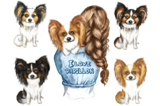 Papillon Watercolor Clipart. Dogs Print Graphic Add-ons By EvArtPrint
