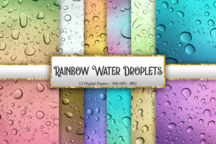 Print on Demand: Rainbow Water Droplets Background Graphic Backgrounds By PinkPearly