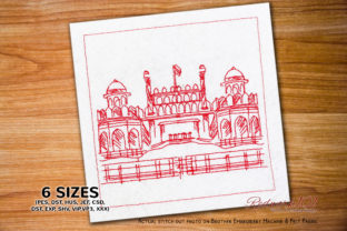 Red Fort in Delhi India Vacation Embroidery Design By Redwork101