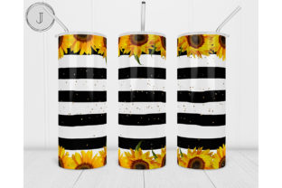 20oz Skinny Tumbler Sunflowersstripes Graphic Print Templates By join29design