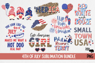 4th of July Sublimation Bundle Graphic Print Templates By Lazy Cat