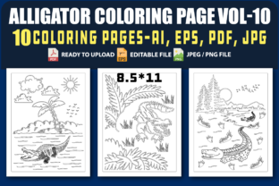 Alligator Coloring Pages VOL.10 Graphic Coloring Pages & Books Kids By triggeredit
