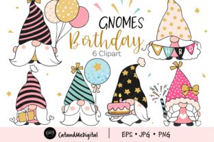 Birthday Gnomes Clipart Graphic Illustrations By CatAndMe