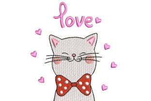 Cat with a Bow Cats Embroidery Design By Canada Crafts Studio