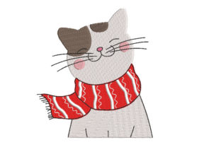 Cat with a Scarf Cats Embroidery Design By Canada Crafts Studio