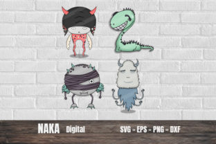 Cute Monster Cliparts Graphic 3D SVG By NAKA SHOP