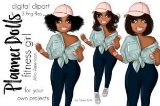 Fitness Afro Girl Graphic Icons By Tanya Kart