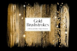 Print on Demand: Gold Glitter and Foil Brushstrokes Graphic Illustrations By Pixafied