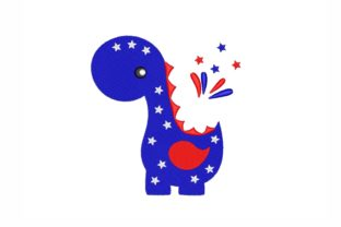 Patriotic Dinosaur Independence Day Embroidery Design By NinoEmbroidery