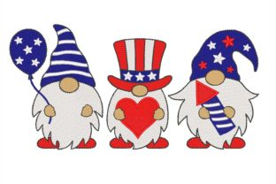 Patriotic Gnomes Independence Day Embroidery Design By NinoEmbroidery