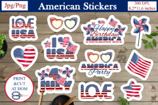 Print on Demand: Patriotic Stickers. 4th of July Stickers Graphic Crafts By LerVik