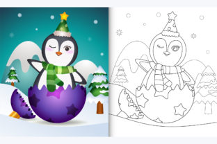 Penguin Christmas Ball - Coloring Page Graphic Coloring Pages & Books By wijayariko