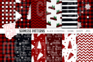Print on Demand: Red Christmas Seamless Patterns Graphic Backgrounds By MutchiDesign