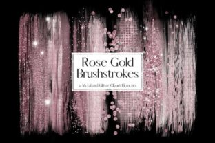Print on Demand: Rose Gold Glitter and Foil Brushstrokes Graphic Illustrations By Pixafied