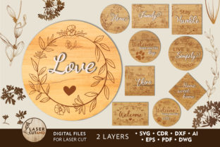 Print on Demand: Sign SVG BUNDLE Layered Laser Cut Files Graphic 3D SVG By LaserCutano