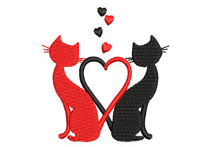 Two Cats with a Heart of Tails Cats Embroidery Design By Canada Crafts Studio
