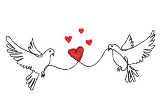 Two Doves with Heart Birds Embroidery Design By Canada Crafts Studio