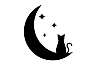 Cat and Moon Cats Craft Cut File By Creative Fabrica Crafts