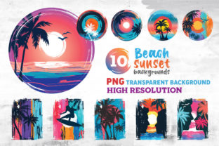 Print on Demand: Beach Sunset PNG Colorful Background Graphic Illustrations By nesdigiart