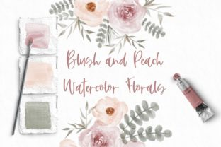Print on Demand: Blush and Peach Watercolor Clip Art Graphic Illustrations By Kristen Rheaume