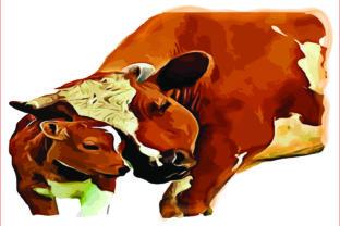 Cow with Calf PNG, Sublimation Graphics Graphic Illustrations By AlaBala